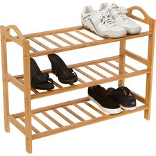 100% Natural Bamboo 3 Shelves Shoe Rack