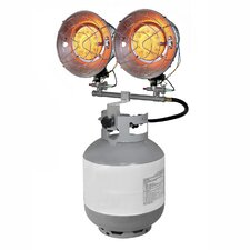 Propane Powered 30,000-BTU Dual Burner Tank Top Radiant Heater with Tip Over Safety Switch
