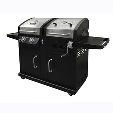 2 Burner Gas Grill with Adjustable Charcoal Tray