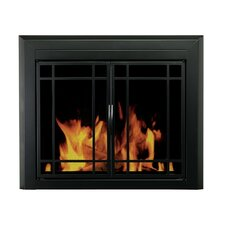 <strong>Pleasant Hearth</strong> Easton Prairie Cabinet Style Fireplace Screen and 9-Pane Smoked Glass Door