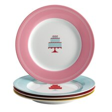 "4-Piece ""Mini Cakes"" Dessert Plate Set"