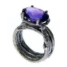 3WS Sterling Silver Oval Cut Gemstone Ring