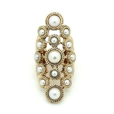 <strong>Jordan and Taylor</strong> Gold Pearl Chunky Ring