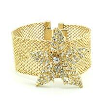 Flower Crystal Bangle Cuff Bracelet