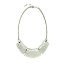 Silver 3 Flat Plates Necklace