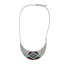 Silver Aztec Bib Necklace