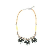3 Resin Flower Crystal Bib Necklace