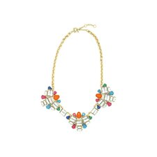3 Flower Aztec Bib Necklace