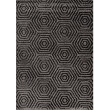 Boulevard Glitz Low Pile Dark Grey Geometric Rug