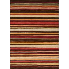 Mansoori Textured Red Stripes Rug