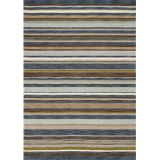 Mansoori Textured Blue Stripes Rug