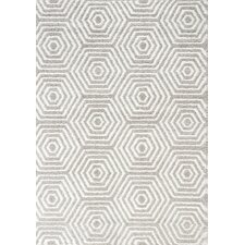 Boulevard Glitz Low Pile Light Grey / White Geometric Rug