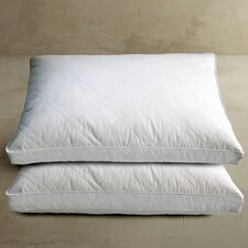233 Thread Count Double Diamond Quilted White Goose Feather Jumbo Pillow (Set of 2)