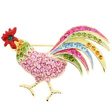 Rooster Animal Crystal Brooch