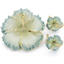 Hawaiian Hibiscus Flower Perovskia Crystal Brooch and Earrings Gift Set