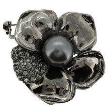 Flower Cultured Pearl Crystal Brooch
