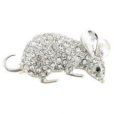 Mouse Animal Crystal Brooch