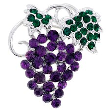 Grape Cluster Crystal Brooch
