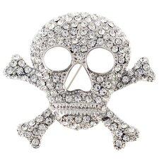 Cross Bones Skull Crystal Brooch