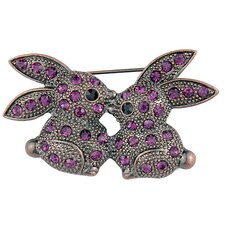 Kissing Bunny Crystal Brooch