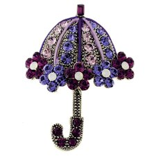 Flower Umbrella Crystal Brooch