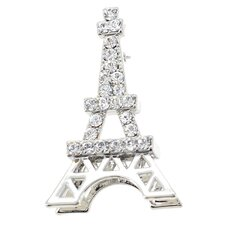 Paris Eiffel Tower Crystal Brooch Pendant