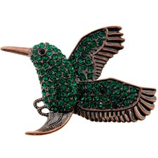 Humming Bird Crystal Brooch