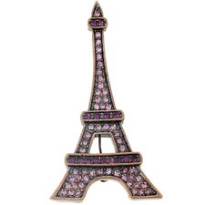 Paris Eiffel Tower Crystal Brooch Pendant