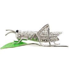 Grasshopper Crystal Brooch