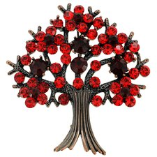 Tree-in-Full-Bloom Crystal Brooch