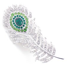 Peacock Feather Crystal Brooch