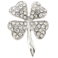 4 Leaf Clover Flower Crystal Brooch