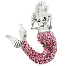 Mermaid Crystal Brooch Pendant