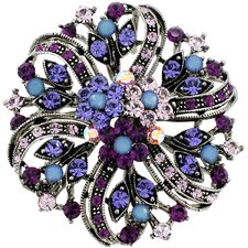 Flower Wedding Perovskia Crystal Brooch Pendant