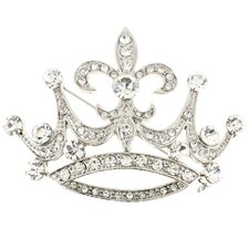 <strong>Fantasyard</strong> Fleur-De-Lis Sign Crown Brooch Crystal Brooch