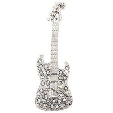 Guitar Music Crystal Brooch