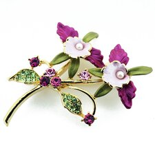 Orchid Flower Cultured Pearl Pin Brooch