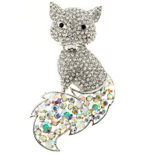 Fox Animal Crystal Brooch