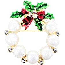 Christmas Wreath Cultured Pearl Brooch