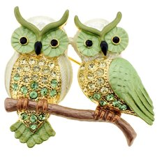 <strong>Fantasyard</strong> Couple Owl Bird Crystal Brooch