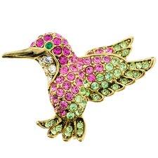 Hummingbird Bird Lapel Perovskia Crystal Brooch