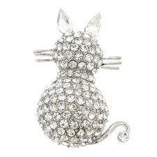 Cat Kitty Animal Crystal Pin Brooch