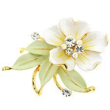 Flower Leaf Perovskia Crystal Pin Brooch
