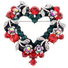 <strong>Fantasyard</strong> Heart and Flower Wreath Crystal Brooch
