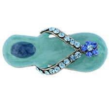 Turquoise Flower Flip-Flop Lapel Crystal Pin and Pendant