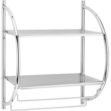 44cm Wall Shelf with Towel Holder in Chrome