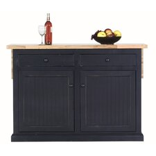 Coastal Kitchen Island with Butcher Block Top