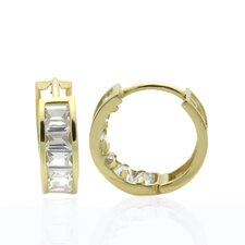 <strong>Double Accent</strong> Baguette Cubic Zirconia Hoop Earrings