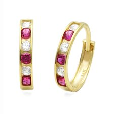 <strong>Double Accent</strong> Cubic Zirconia Hoop Earrings