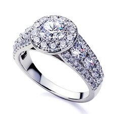 Sterling Silver Round Cut Diamond Wedding and Engagement Ring